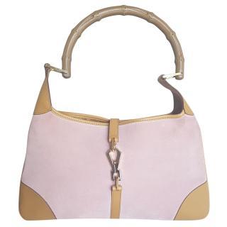 Gucci pink suede bamboo top handle vintage bag