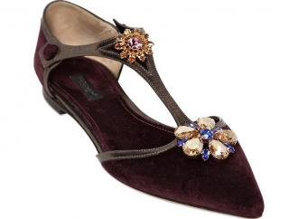 Dolce and Gabbana embellished velvet flats
