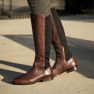 Lacoste Rosolinn Knee high Brown Leather Riding boot