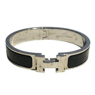 Hermes Black & Silver H Bracelet