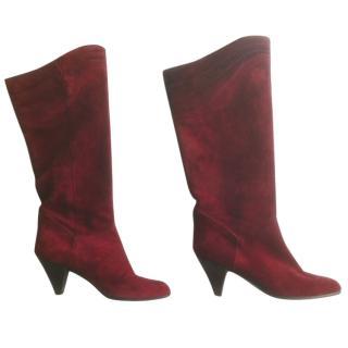 Vintage Dior suede burgundy boots