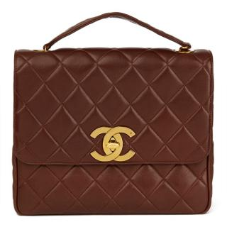 Chanel Brown Quilted Lambskin Vintage XL Classic Single Flap Bag