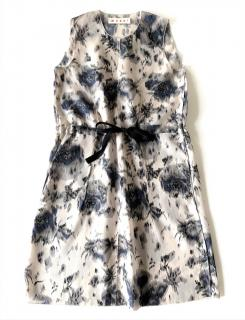 MARNI grey & blue floral print sleeveless silk dress