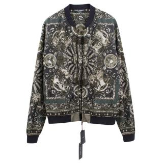 Dolce & Gabbana green patterned bomber jacket