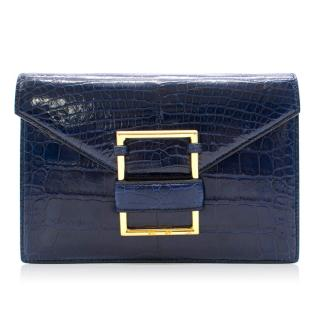 Ralph Lauren navy crocodile leather clutch bag