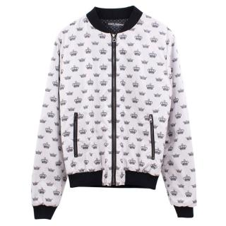 Dolce & Gabbana white crown print bomber jacket