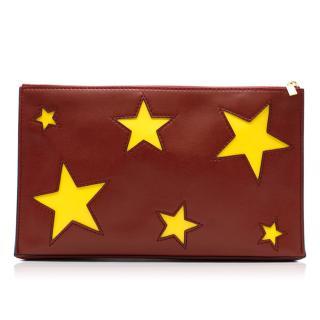 Stella McCartney maroon cavendish stars clutch bag