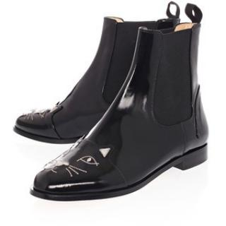 Charlotte Olympia Black Patent Kitty Chelsea Boots