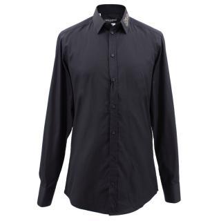 Dolce & Gabbana navy cotton embellished shirt