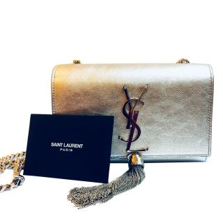 Saint Laurent Kate Chain and tassel wallet in Silver