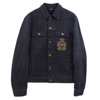 Dolce & Gabbana black denim embroidered jacket
