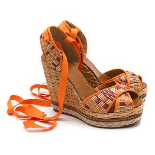 Dolce & Gabbana orange patterned wedge sandals
