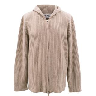 Pearls & Cashmere taupe cashmere knitted hoodie