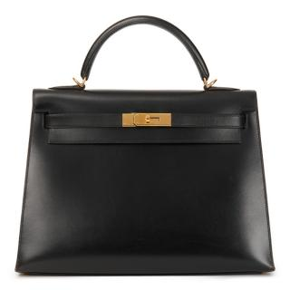 Hermes Black 32cm Sellier Kelly in Box Leather