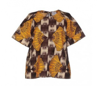 Stella Jean multi-print short sleeve blouse