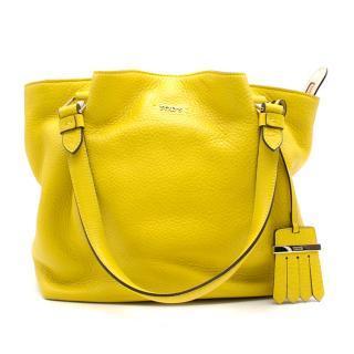 Tod's yellow mini flower leather shopper bag