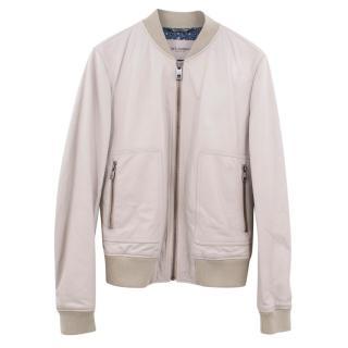 Dolce & Gabbana beige leather bomber jacket