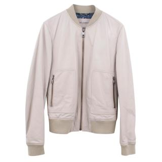 Dolce & Gabbana beige leather bomber jacket