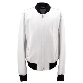 Dolce & Gabbana white leather jacket
