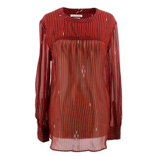 Isabel Marant Red and Black Striped Shirt