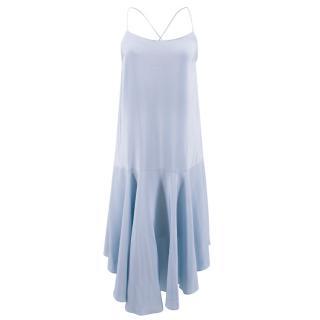 Tibi sky blue asymmetric silk-satin dress