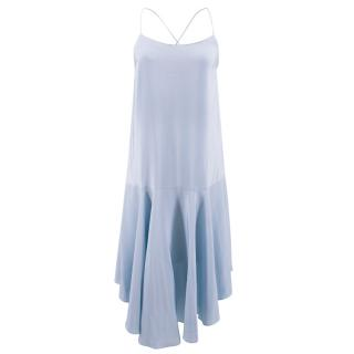Tibi sky blue asymmetric silk-satin dress