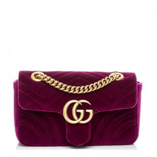 GG Marmont velvet shoulder bag with receipt
