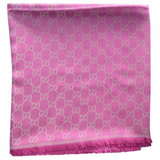 Gucci pink silk/wool scarf
