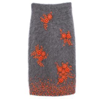 Prada Grey Mohair Blend Skirt with Orange Beaded Embellishment - A/W17