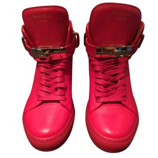 Buscemi Red Leather Hightop Internal wedge Sneakers