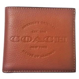 COACH Men's Double Bill Saddle Leather Wallet COACH Logo