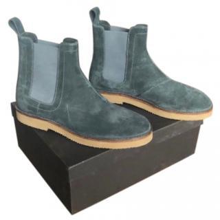 Bottega Veneta Elephant Grey Calf Suede Chelsea Boots