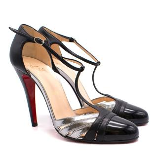 Christian Louboutin Gino 100 silver leather sandals