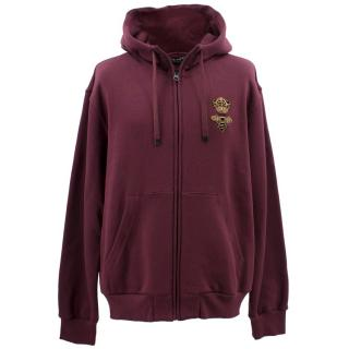 Dolce and Gabbana Maroon Zip-up Hoodie