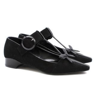 Fabrizio Viti black suede bow ballerina shoes