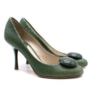 Dior Green Snakeskin Pumps
