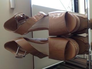 Michael Kors nude leather platform sandals