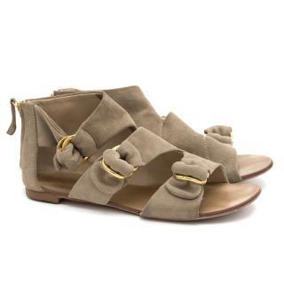 Giuseppe Zanotti khaki suede flat sandals