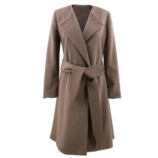Halston brown belted wool-blend coat