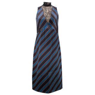 Sachin & Babi Blue and Black Striped Silk Dress