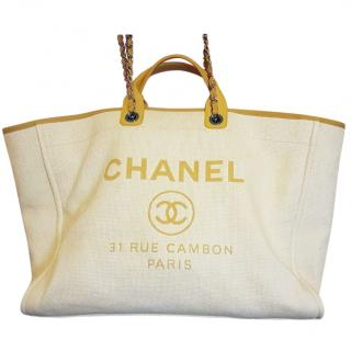 Chanel Deauville Large Yellow Tote Bag with authenticity card