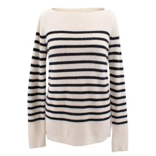 Vince white and black striped cashmere sweater