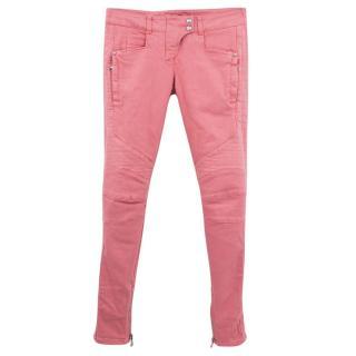 Balmain pink denim skinny jeans