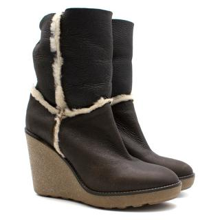 Moncler leather high wedge ankle boots