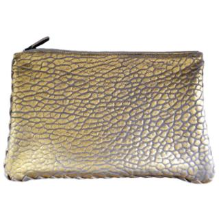 Bottega Veneta gold leather zip pouch clutch bag