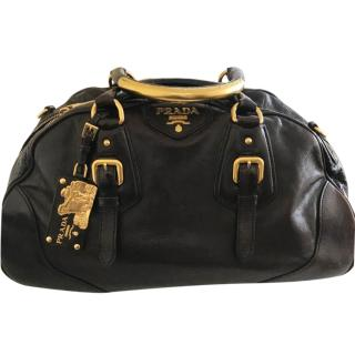 Prada Black and Gold Bowling Bag