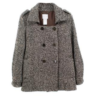 Celine patterned wool blend double breasted coat