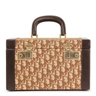 Christian Dior Brown Calfskin Leather Canvas Vintage Vanity Case