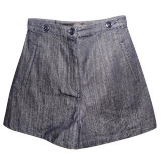 Victoria Beckham Blue Stretch Denim Shorts