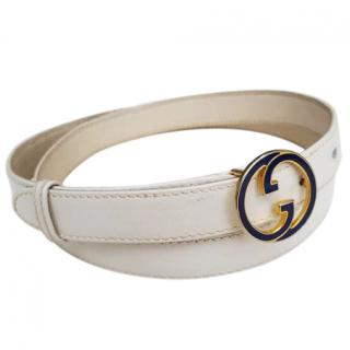 Gucci gold and blue GG cream belt